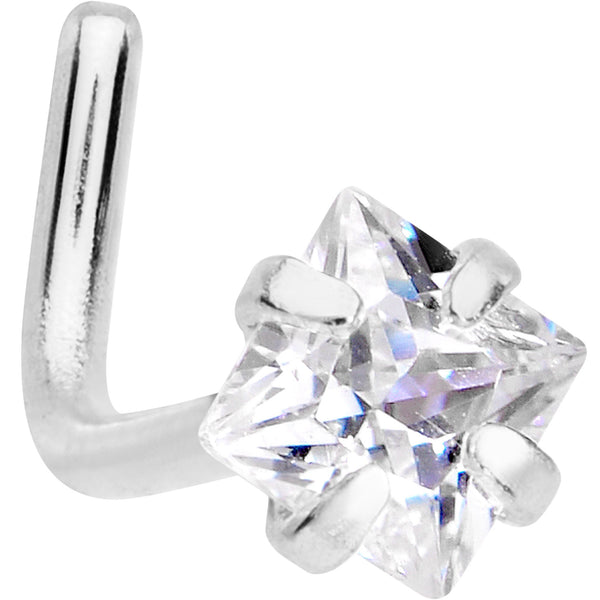 20 Gauge 1/4 Clear Square 2.5mm CZ Gem Steel L-Shape Nose Ring