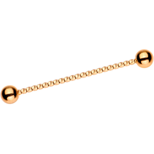 Rose Gold Tone IP Seriously Twisted Industrial Barbell Earring 38mm