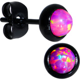 Pink Synthetic Opal Black IP 316L Surgical Steel Stud Earrings