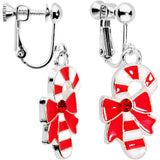 Red CZ Gem Silver Plated Bow Candy Cane Clip On Earrings