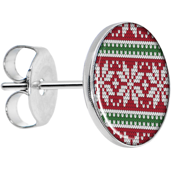 Red Green Christmas Sweater Stud Earrings