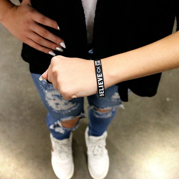 Personalized Black White Believe Silicone Religious Message Bracelet