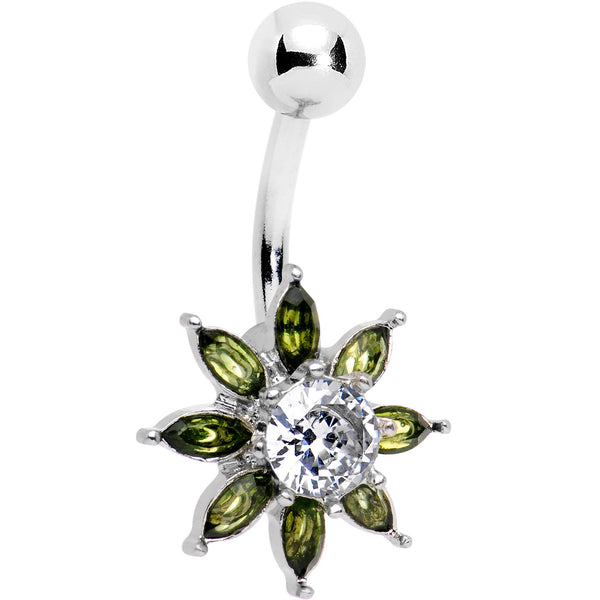Clear Green Gem Flourishing Flower Belly Ring