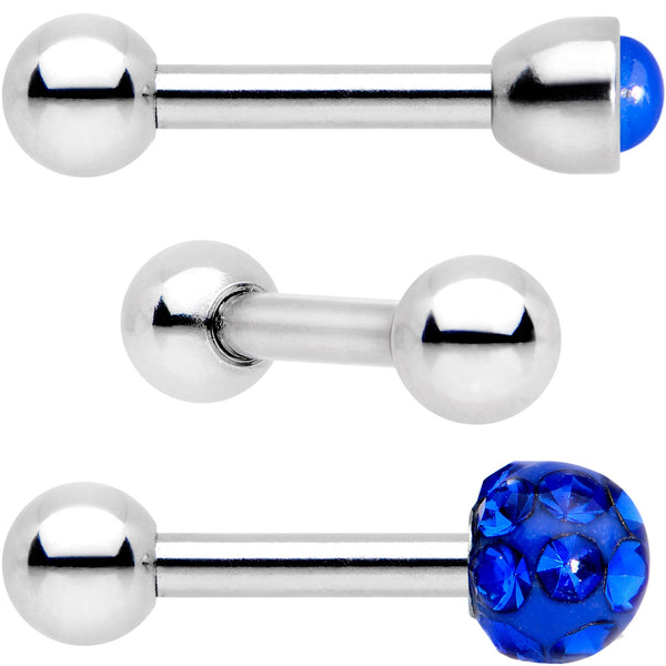 16 Gauge 1/4 Blue Faux Opal Inlay Cartilage Tragus Earring 3 Pack Set