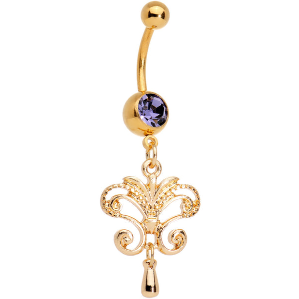 Purple Gem Gold Tone Anodized Chandelier Double Dangle Belly Ring