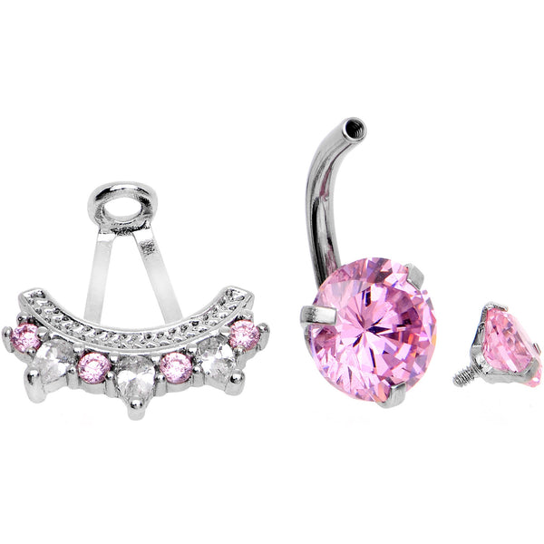 Pink CZ Gem Icy Bling Dangle Belly Ring