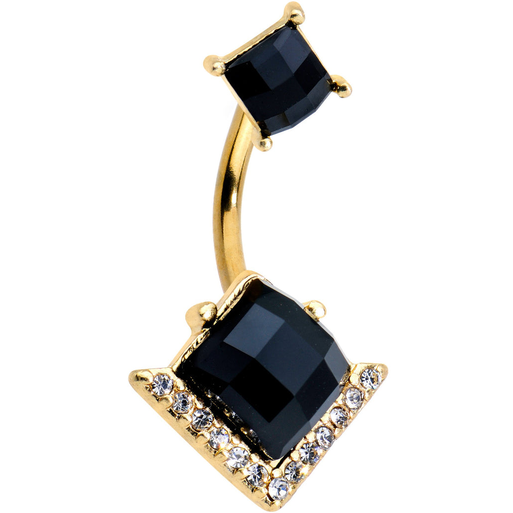 Black Gem Gold Tone Anodized High Class Double Mount Belly Ring