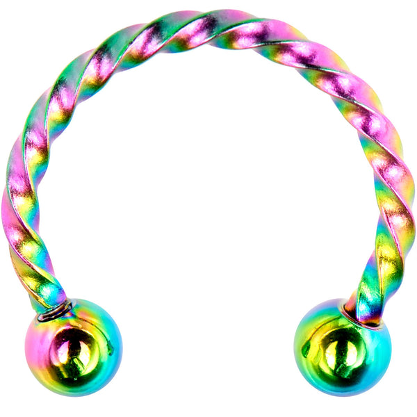 16 Gauge 3/8 Rainbow Seriously Twisted Horseshoe Circular Barbell