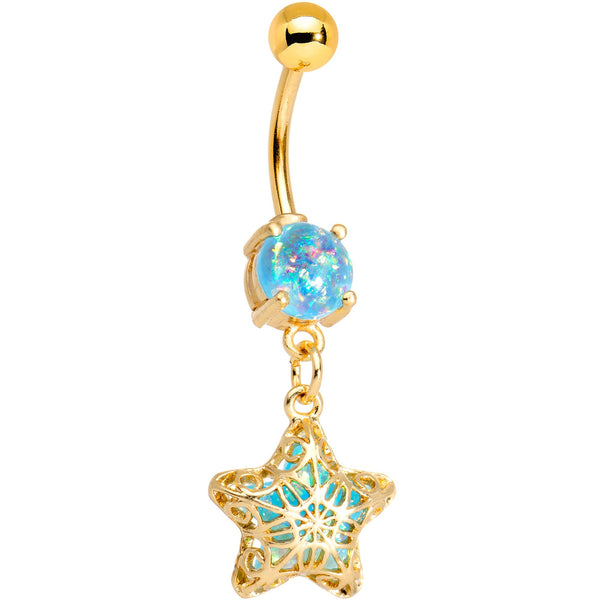 Aqua Faux Opal Gold Tone Anodized Captive Star Dangle Belly Ring