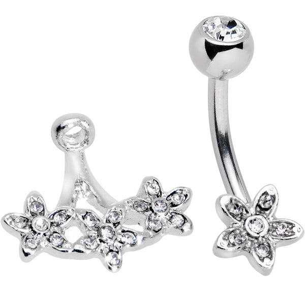 Clear Gem Field of Flowers Dangle Belly Ring