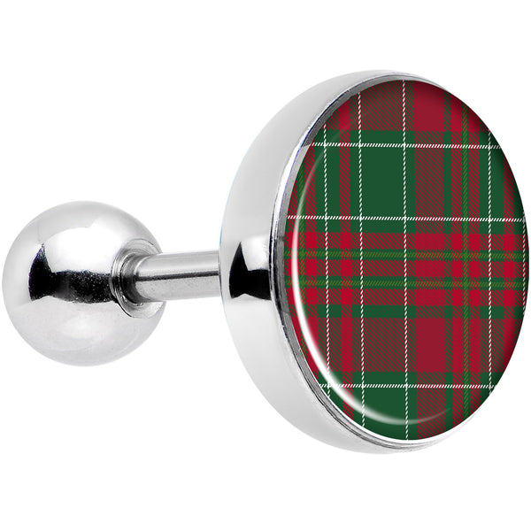 16 Gauge 1/4 Christmas Red Green Plaid Tragus Cartilage Earring