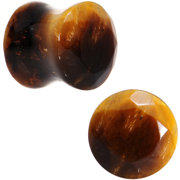 00 Gauge Tiger Eye Semi Precious Stone Faceted Double Flare Plug Set