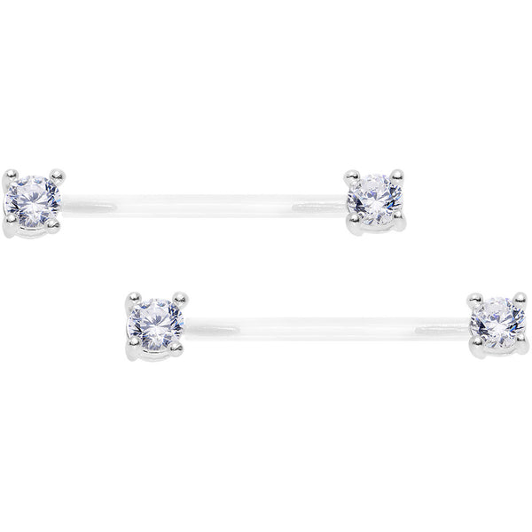 "13/16"" 925 Silver Clear Gem Bioplast Round Solitaire Nipple Ring Set"