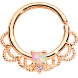 16 Gauge 5/16 White Faux Opal Rose Gold Plated Seamless Circular Ring