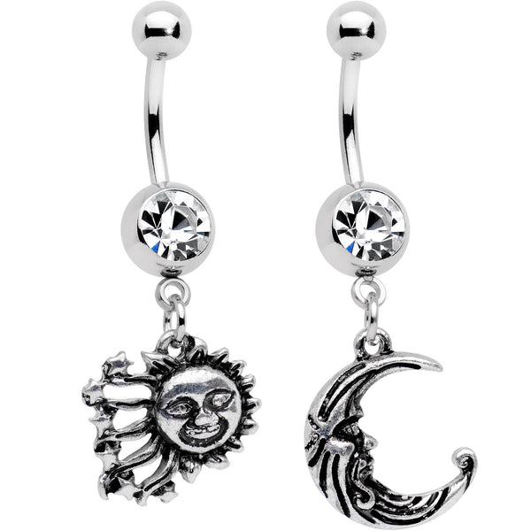 Clear Gem Mrs Sun and Mr Moon Dangle Belly Ring Set of 2