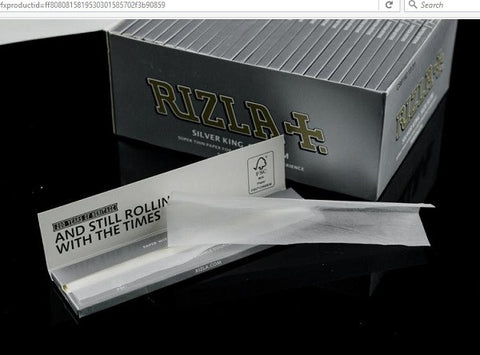 1- Pack RIZLA Silver Rolling Papers King Size Slim Tobacco Super Thin Cigarette Rolling Paper Unbleached Smoking Paper