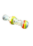 "3.25"" Silver Fumed Inside Out Rasta Zig Zag Chillum"
