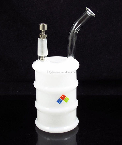 "6.8"" inches OIL DRUM Mini Glass bong smoking water pipes with titanium nail oil rig dome and nail 14.5mm joint"