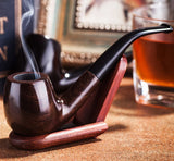 "Black Ebony Wood Smoking Pipes Bent Type 0.35"" Filter Classical Handmade Tobacco Pipe Best Smoking"