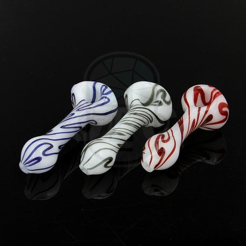 Bone White Color Stripe Spoon Pipe