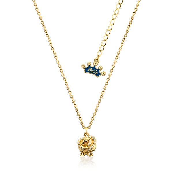 Kids Disney Beauty and the Beast Enchanted Rose Necklace