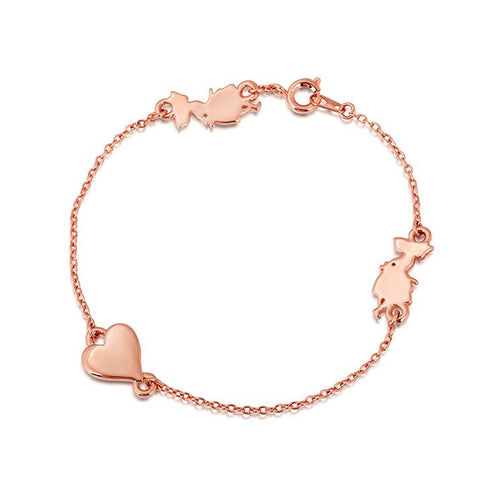 Disney Alice in Wonderland Heart Bracelet - Rose Gold