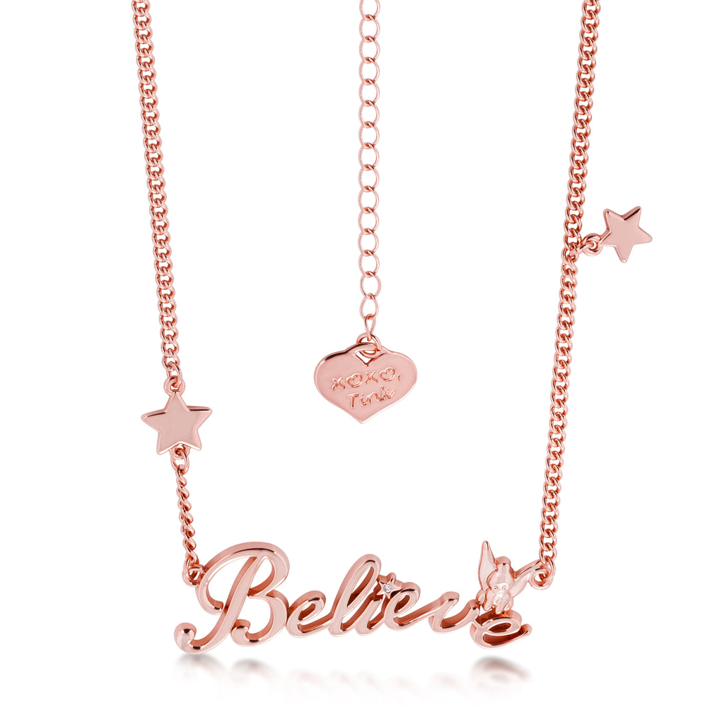 Disney Tinker Bell Believe Necklace Rose Gold Jewellery by Couture Kingdom DRN398