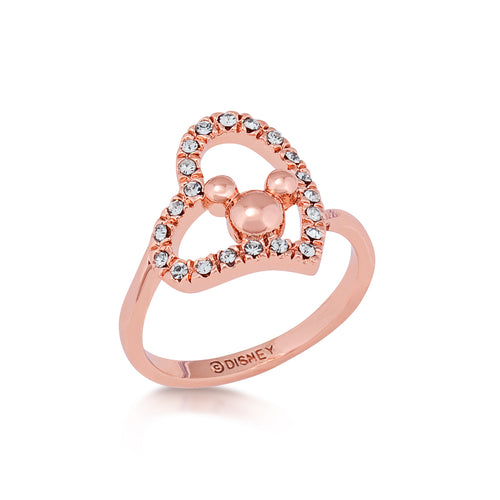 Minnie Loves Mickey Mouse Crystal Heart Ring Rose Gold