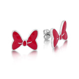 Red Minnie Mouse Bow Stud Earrings White Gold