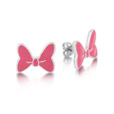 Pink Minnie Mouse Bow Stud Earrings