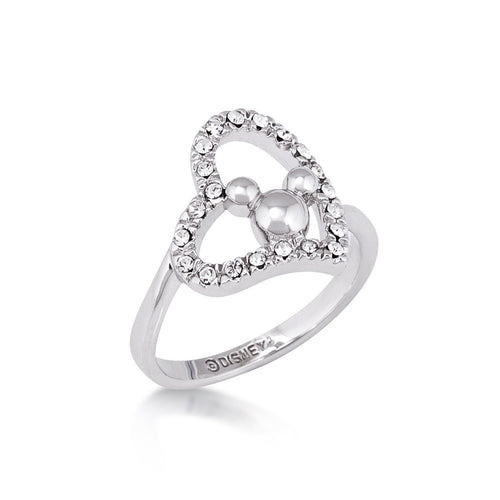 Minnie Loves Mickey Mouse Crystal Heart Ring White Gold