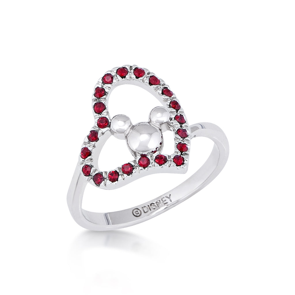 Minnie Loves Mickey Mouse Red Crystal Heart Ring White Gold