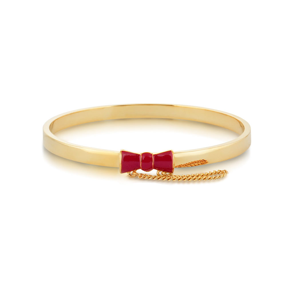 Red Minnie Mouse Bow Bangle Bracelet