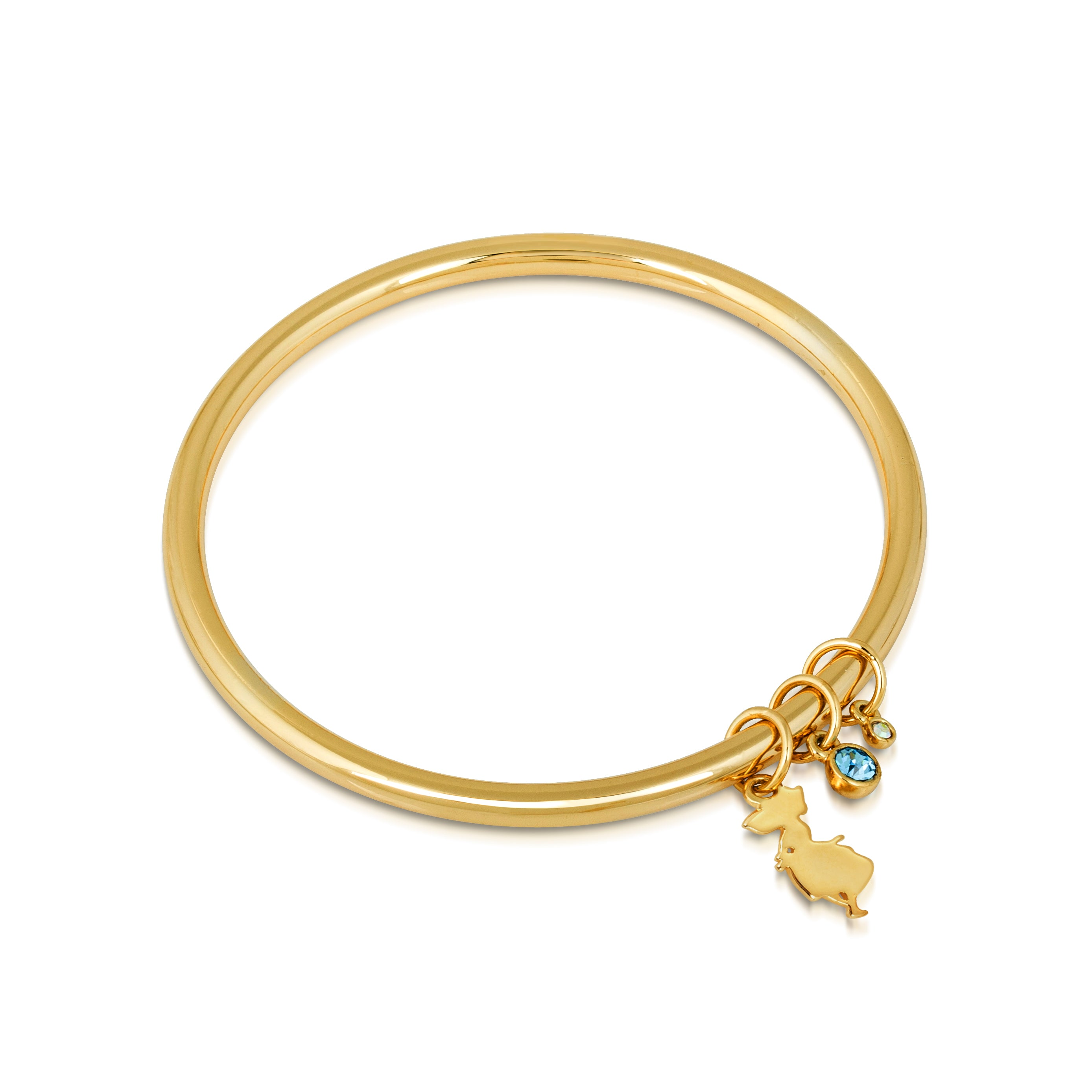 Disney Alice in Wonderland Crystal Bangle - Yellow Gold