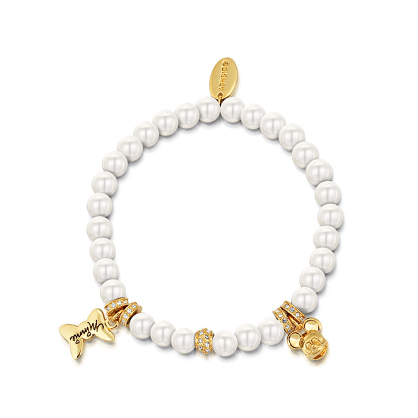 Disney Minnie and Mickey Pearl Bracelet - Disney Jewellery