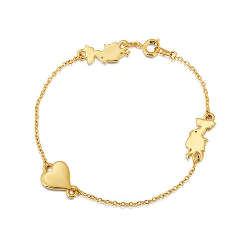 Disney Alice in Wonderland Heart Bracelet - Yellow Gold