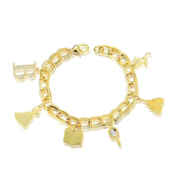 Disney Princess Beauty and the Beast Belle Charm Bracelet - Disney Jewellery