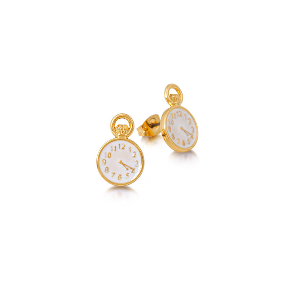 Disney Alice in Wonderland Clock Stud Earrings - Disney Jewellery