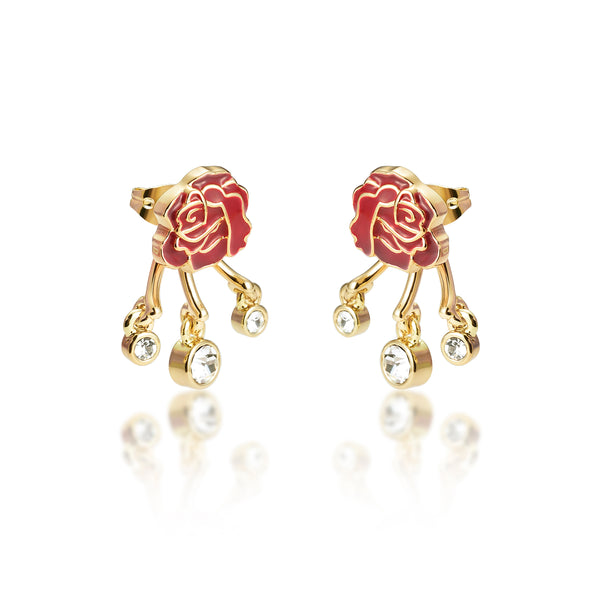 Disney Princess Beauty and the Beast Enchanted Rose Earring Set - Disney Jewellery