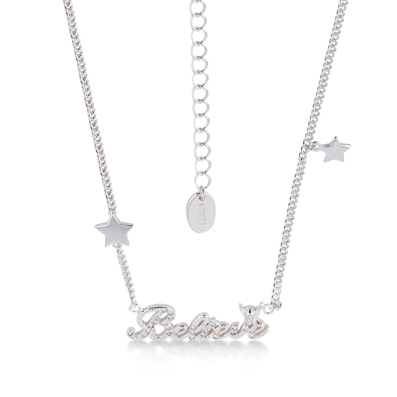 Disney Tinker Bell Believe Necklace with Clear Crystals in White Gold Jewellery by Couture Kingdom DYN0593