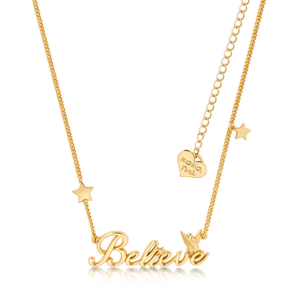Disney Tinker Bell Believe Necklace Yellow Gold Jewellery by Couture Kingdom DYN398