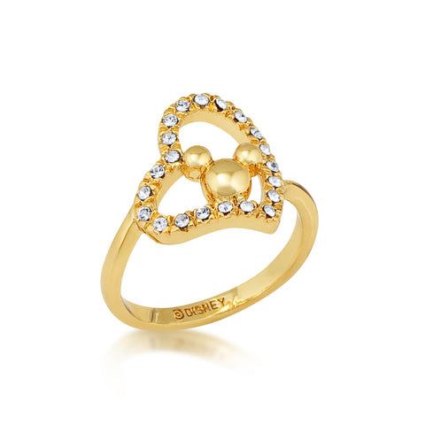 Minnie Loves Mickey Mouse Crystal Heart Ring Yellow Gold