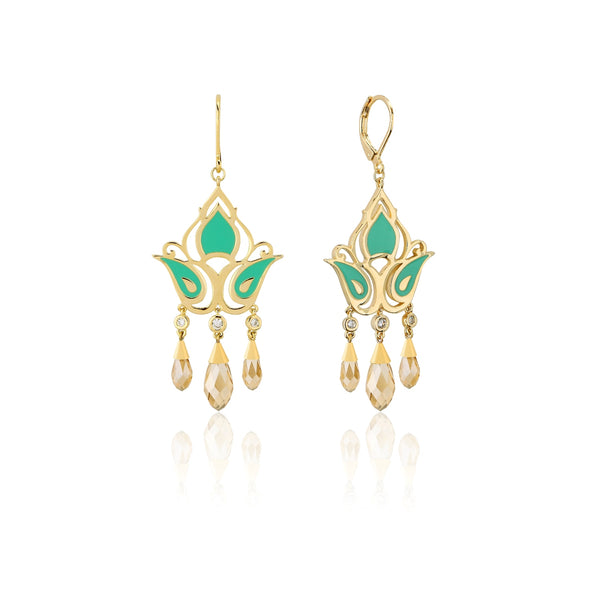Disney Aladdin Princess Jasmine Crystal Drop Earrings