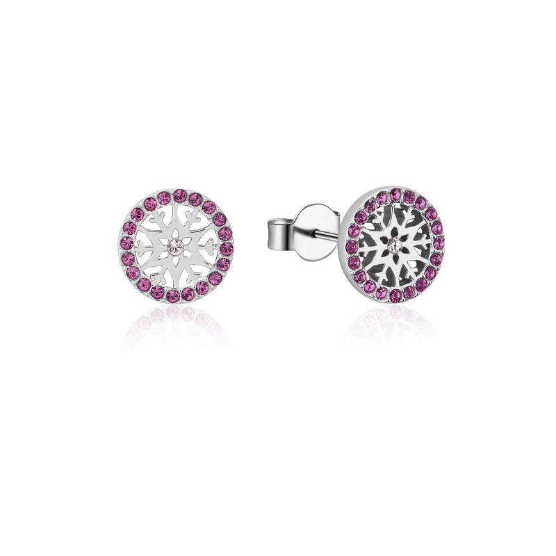 Disney-Frozen-Snowflake-February-Crystal-Birthstone-Stud-Earrings-Sterling-Silver-Couture-Kingdom-SSDFE002