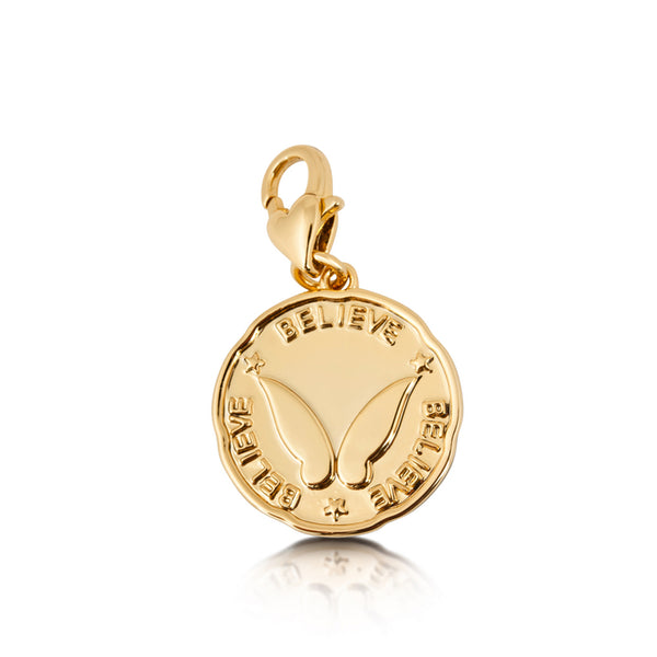 Disney Tinker Bell Believe Charm Yellow Gold Jewellery by Couture Kingdom DYCH0043