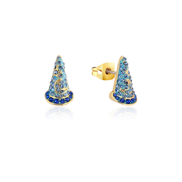 Disney_Fantasia_Sorcerers_Hat_Crystal_Yellow_Gold_Stud_Earrings_Couture_Kingdom_DYE1032