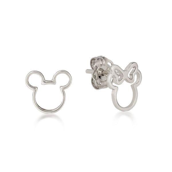 Disney Precious Metal Mickey and Minnie Outline Mix-Match Stud Earrings