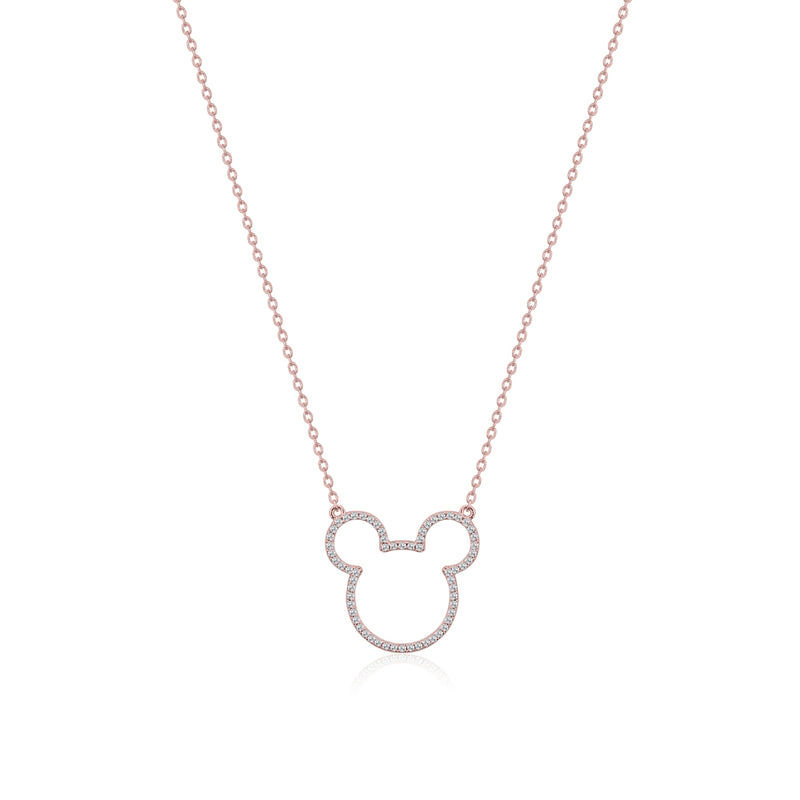 Disney Precious Metal Mickey Mouse Crystal Outline Necklace