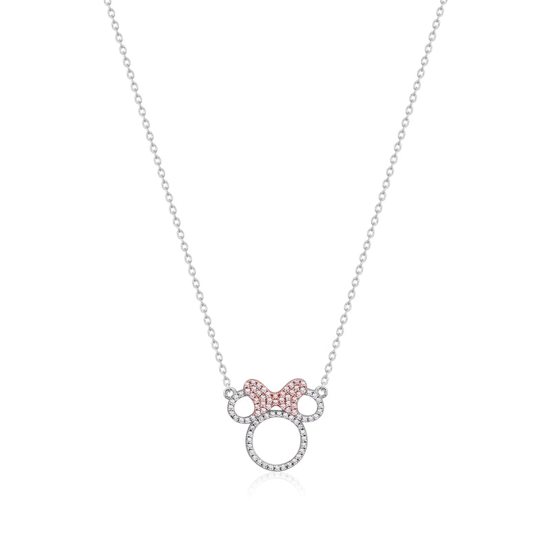 Disney Precious Metal Minnie Mouse Crystal Outline Necklace