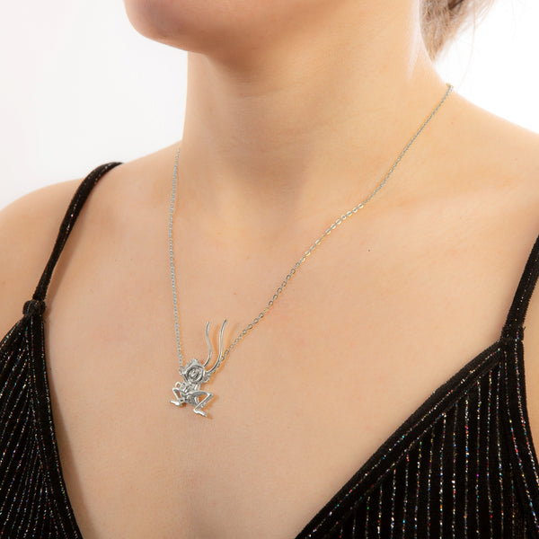 Model_Wearing_Disney_Mulan_CriKee_Couture_Kingdom_White_Gold_Necklace